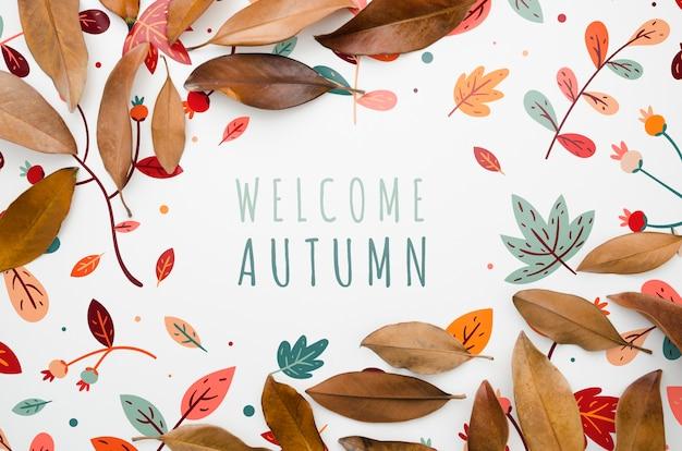Feuilles colorées encadrant bienvenue lettrage d'automne Psd gratuit