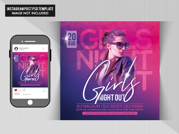 Filles night out party flyer PSD Premium
