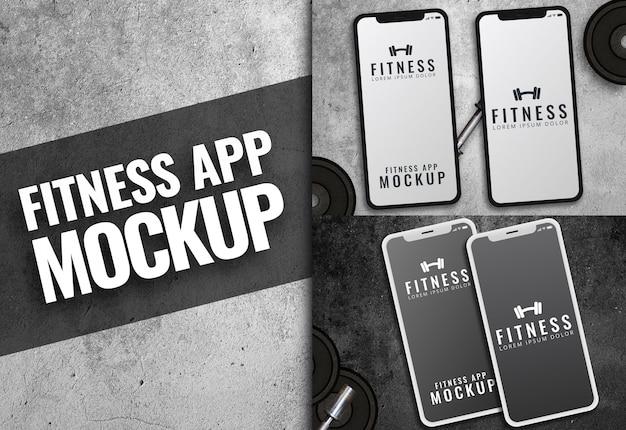 Fitness app maquette de texture sombre iphone PSD Premium
