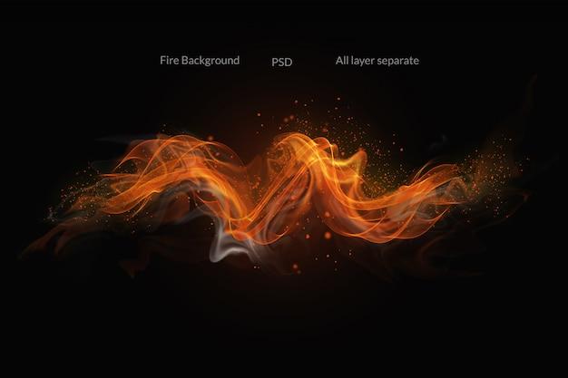 Flammes de feu sur fond noir PSD Premium