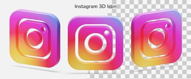Flotteur Isolé Instagram Logo Atout D'icône 3d PSD Premium