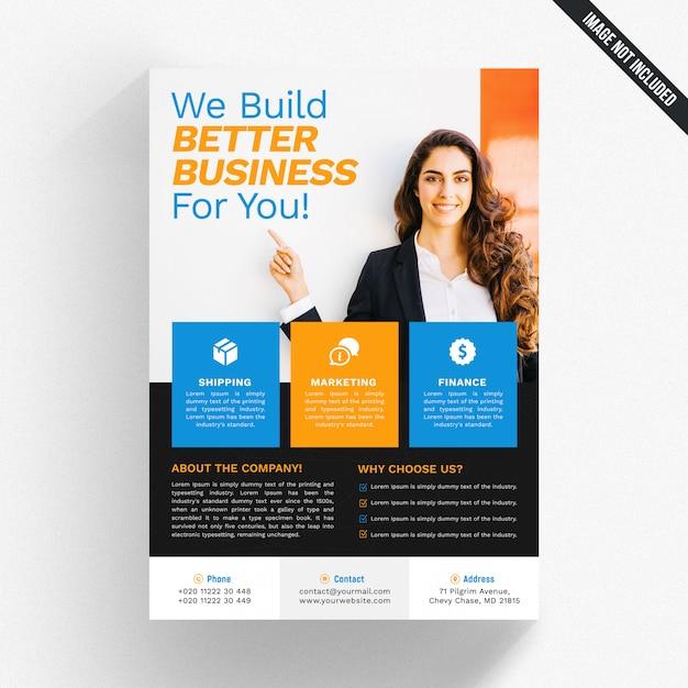 Flyer blanc avec détails bleus et orange PSD Premium
