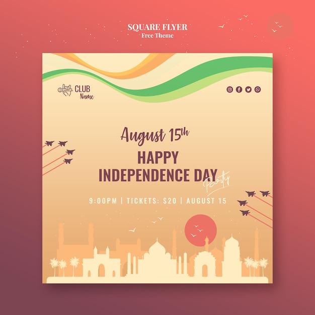 Flyer Carré Fête De L'indépendance Psd gratuit