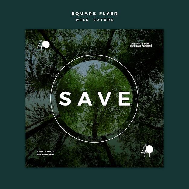 Flyer Carré Pour La Nature Sauvage Psd gratuit