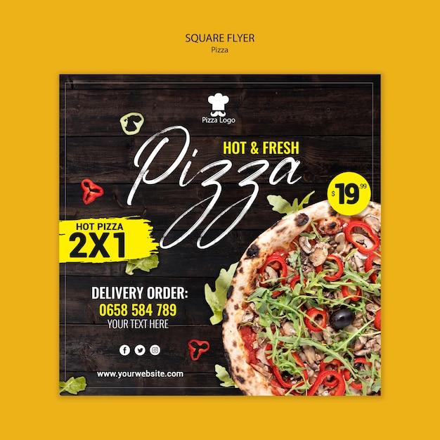 Flyer Carré De Restaurant De Pizza Avec Photo Psd gratuit