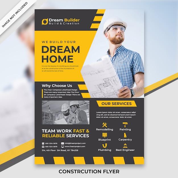 Flyer de construction PSD Premium