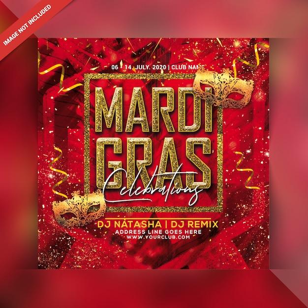 Flyer De Fête Du Mardi Gras PSD Premium