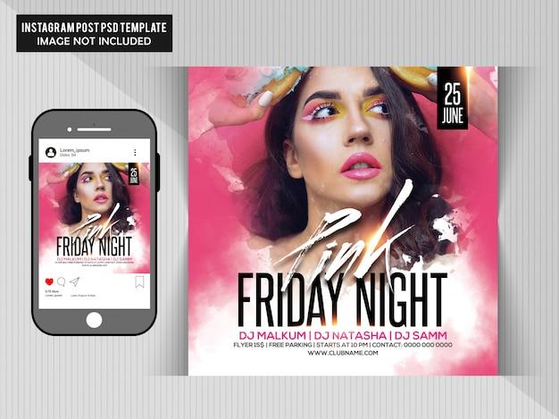 Flyer fête du vendredi soir rose PSD Premium