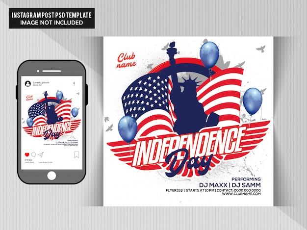 Flyer de la fête de l'indépendance PSD Premium