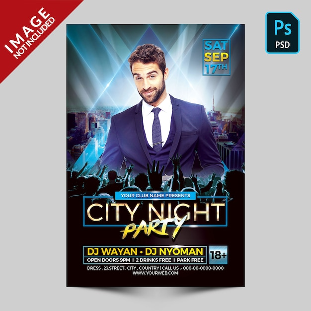 Flyer fête de nuit de la ville PSD Premium