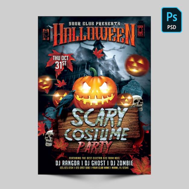 Flyer de fête pour le costume effrayant d'halloween PSD Premium