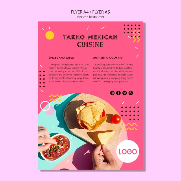 Flyer restaurant mexicain coloré Psd gratuit