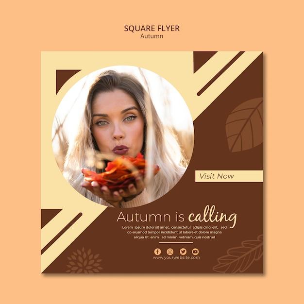 Flyer Template For Autumn Appelle Les Ventes Psd gratuit