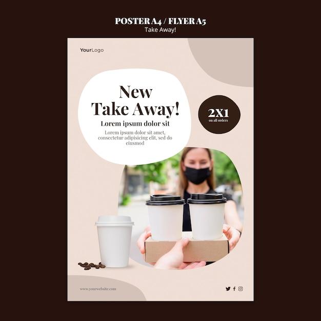 Flyer Vertical Pour Café à Emporter Psd gratuit