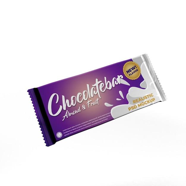 Flying Big Chocolate Bar Doff Foil Matte Maquette De Publicité D'emballage De Produit PSD Premium