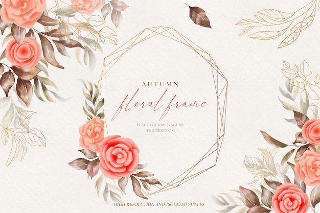 Fond De Cadre Floral Doré Avec Nature Aquarelle Psd gratuit
