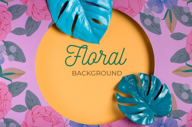 Fond floral avec des feuilles géométriques Psd gratuit