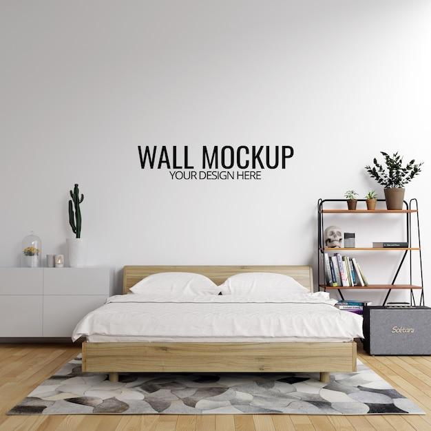 Fond de maquette de mur de chambre à coucher intérieure PSD Premium