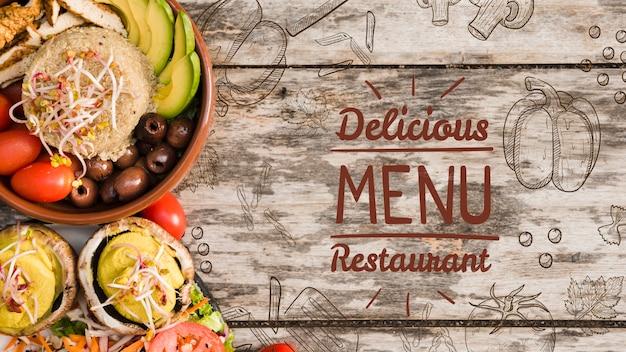 Fond de menu délicieux avec espace de copie Psd gratuit
