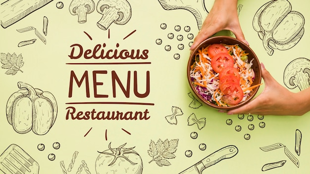 Fond De Menu De Restaurant Avec Une Salade Savoureuse Psd gratuit