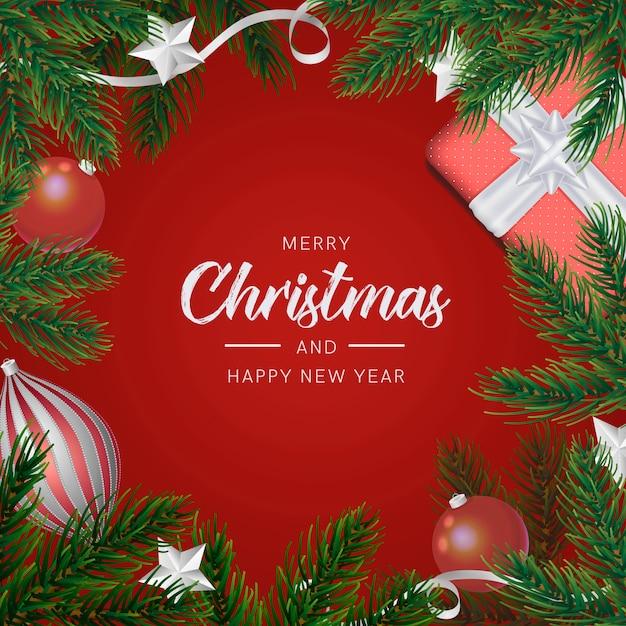 Fond De Noël Avec Décoration Réaliste Psd gratuit