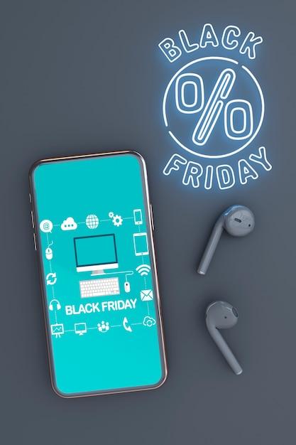 Fond noir vendredi avec maquette de téléphone Psd gratuit
