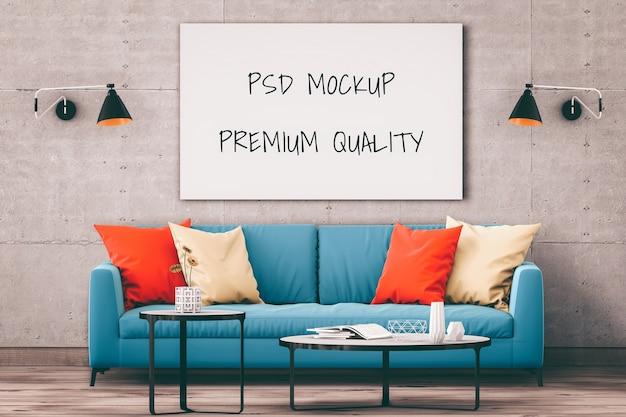 Fond de salon intérieur cadre image maquette, rendu 3d PSD Premium