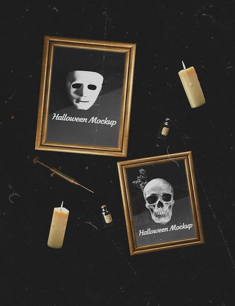 Fond sombre avec cadres de maquette de crâne et masque Psd gratuit