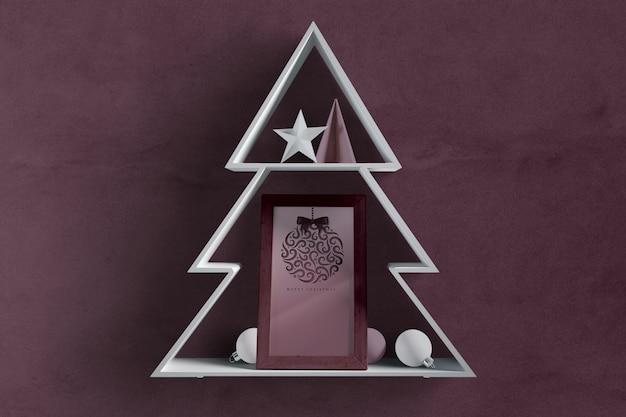 Forme D'arbre De Noël Avec Cadre à L'intérieur Psd gratuit