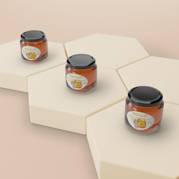 Forme Nid D'abeille Avec Pots De Miel Psd gratuit