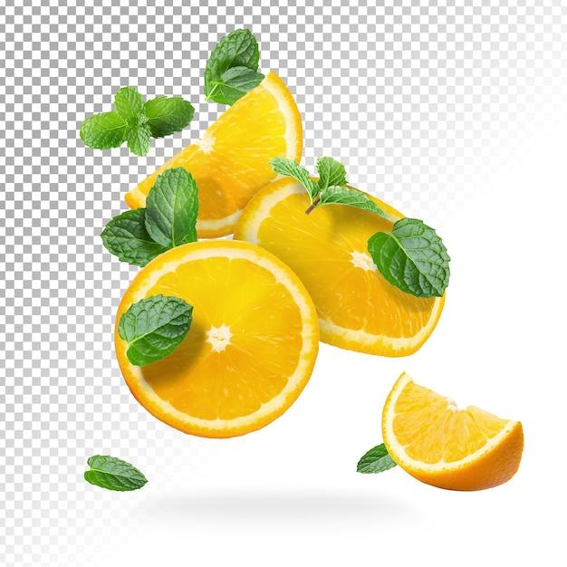 Fruits Frais D'oranges En Tranches Isolés PSD Premium