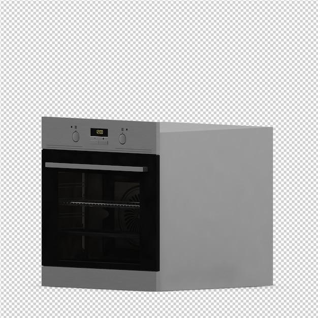 Gamme de cuisine isométrique rendu 3d PSD Premium