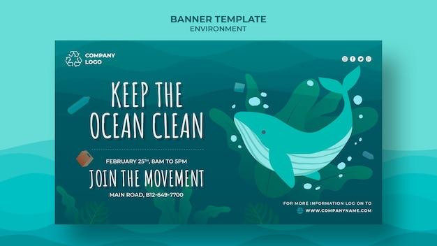 Gardez Le Modèle De Bannière Propre à L'océan Avec Une Baleine Psd gratuit