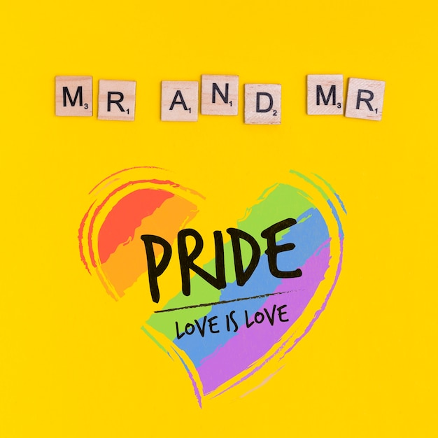 Gay Pride Fond Avec Un Coeur Psd gratuit