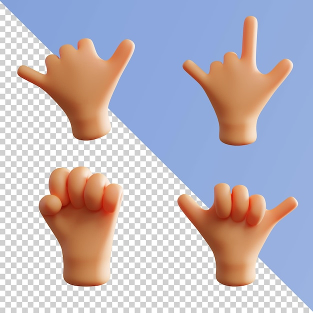Geste De La Main Rendu 3d Mignon Okay Peace Thumb Up Metal Rock Pack PSD Premium