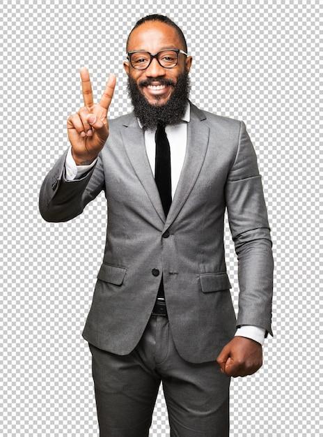 Geste De Victoire Homme D'affaires Noir PSD Premium
