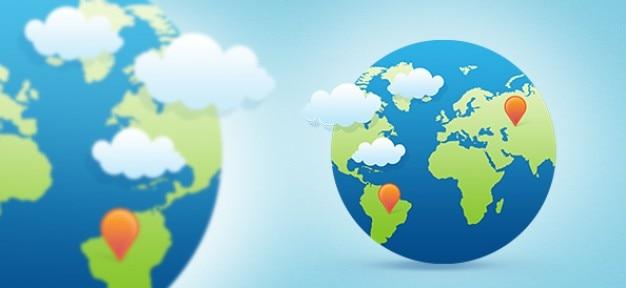 Globe terrestre dans le style plat à la mode Psd gratuit