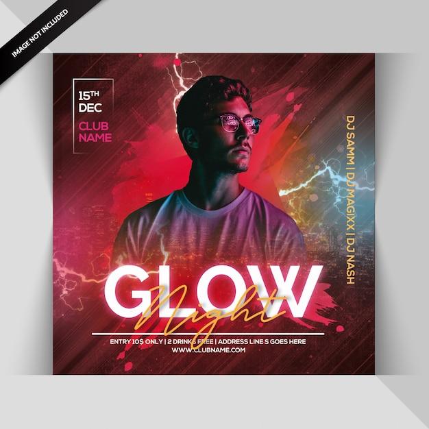 Glow Night Party Invitation Ou Modèle De Flyer Carré PSD Premium
