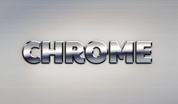 Google chrome effet de texte en métal Psd gratuit