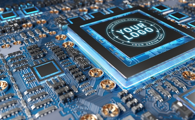 Gpu logo maquette PSD Premium