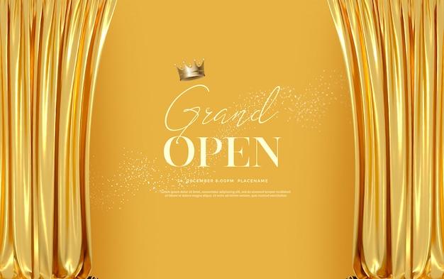 Grand Modèle De Texte D'ouverture Avec Des Rideaux De Luxe En Velours De Soie Dorée. PSD Premium