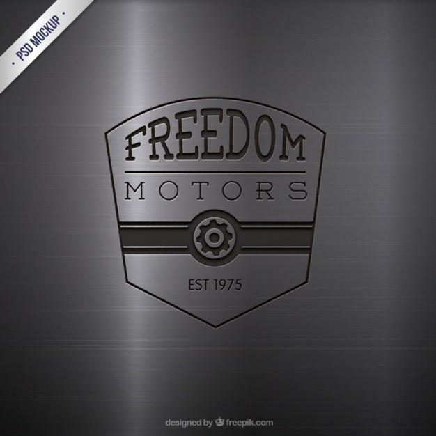 Gravé moteurs logo Psd gratuit