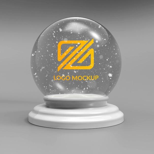 Gros Plan Sur La Boule De Neige De Maquette De Logo PSD Premium