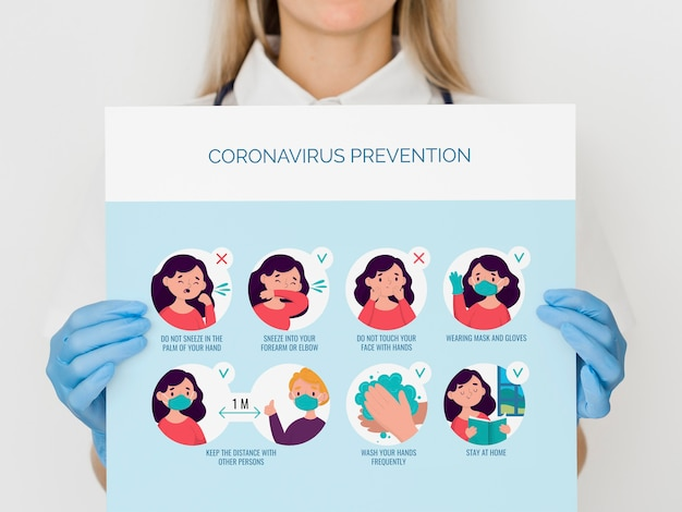 Gros Plan, Femme, Coronavirus, Prévention Psd gratuit