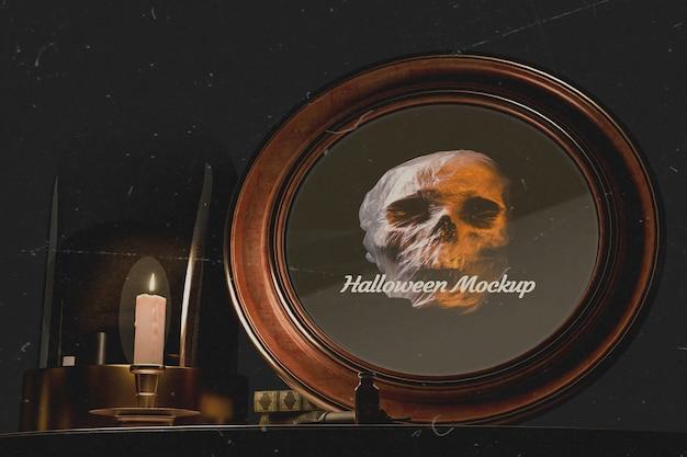 Gros plan halloween cadre rond avec crâne Psd gratuit