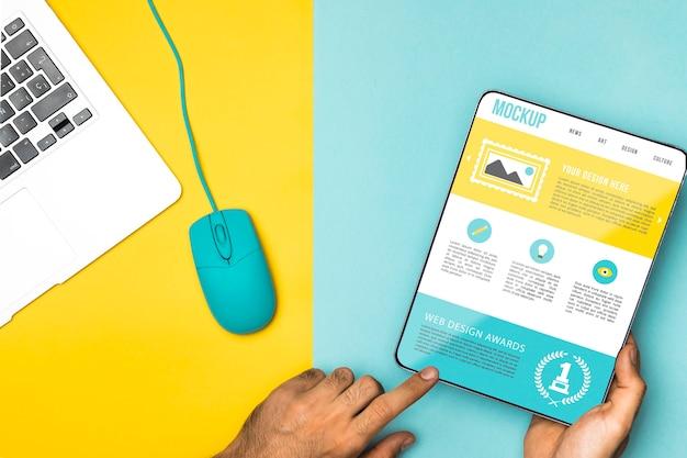 Gros Plan, Mains, Tenue, Tablette PSD Premium