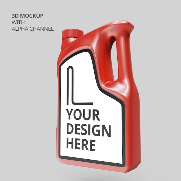 Gros Plan Sur La Maquette De Bouteille En Plastique D'huile Moteur PSD Premium