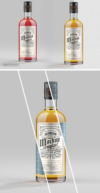 Gros Plan Sur La Maquette De Bouteille En Verre De Whisky PSD Premium