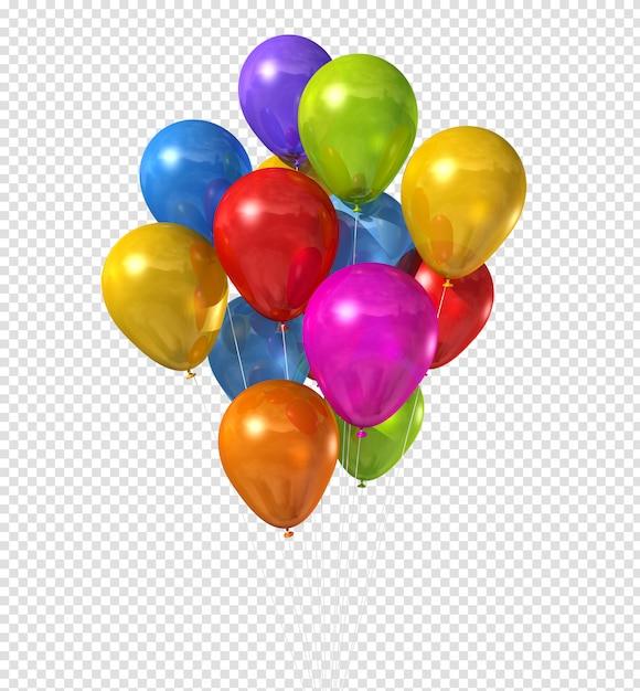 Groupe De Ballons Multicolores Isolé Sur Blanc PSD Premium