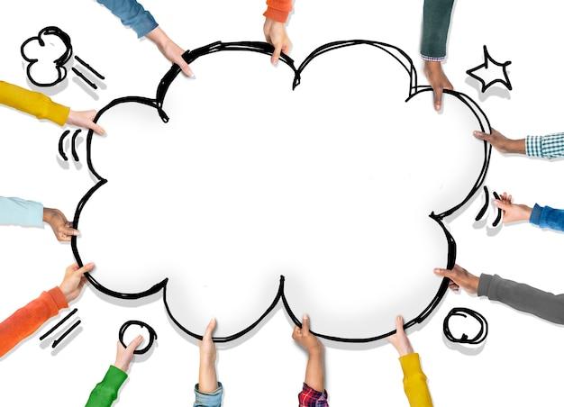 Groupe de mains avec concept pop art Psd gratuit